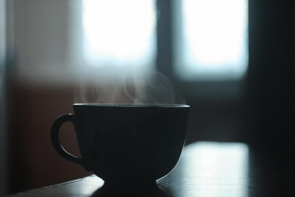 Chávena de chá fumegante