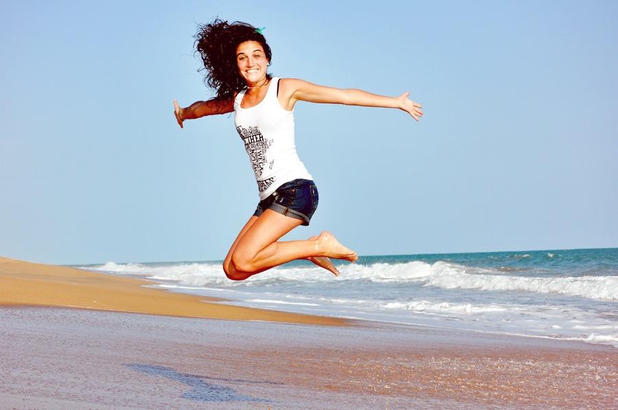 Salto na praia